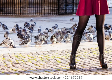 Autumn fashion. Female legs foots in stylish fashionable shoes boots outdoor city street with pigeons - stock photo