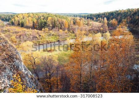 Autumn field of trees on a cloudy day - stock photo