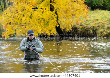 Autumn fishing - stock photo