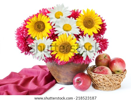 Autumn flowers and fruits still life isolated on white with sample text. Asters, sunflowers and chamomile bunch and apple fruits on white  - stock photo