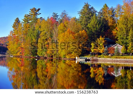 Autumn Foliage: Fall Color in the Adirondacks New York - stock photo