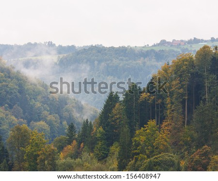 Autumn forest hill with fog in background - stock photo