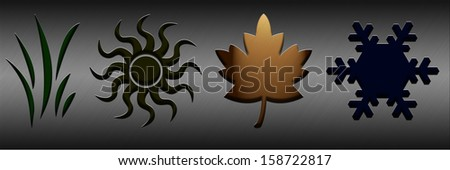 Autumn. Four seasons concept with illuminated symbols - stock photo