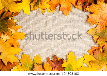 Autumn frame from fallen maple leaves on canvas - stock photo