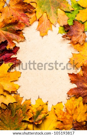 Autumn frame from fallen maple leaves on textured paper - stock photo