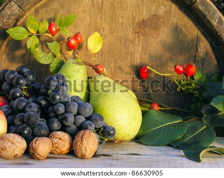 Autumn fruits on a wooden table. Harvest time. - stock photo