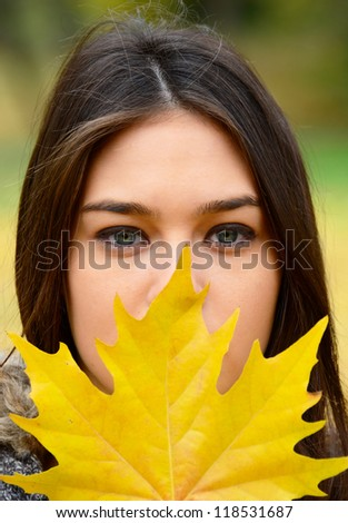 Autumn girl portrait - stock photo