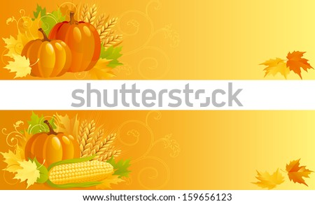Autumn Harvest. Banners of vegetables and leaves  on yellow background.   - stock photo
