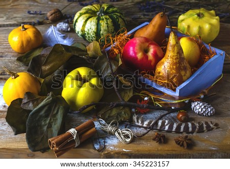 Autumn harvest still life with pumpkins and fruits - stock photo
