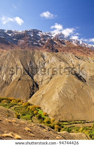 Autumn image of the High Atlas Mountains taken from the road leading to Tizi n'Tichka Pass, Morocco - stock photo