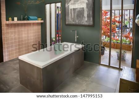autumn in bath room - stock photo
