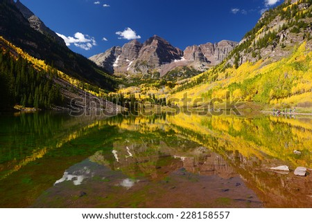 autumn in colorado at maroon lake - stock photo
