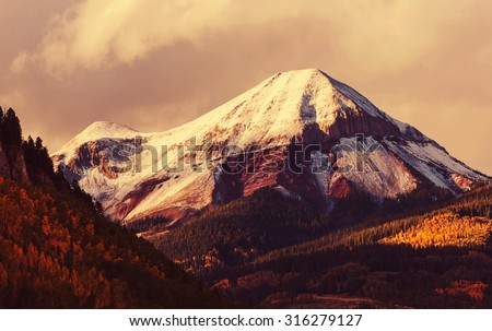 Autumn in Colorado mountains - stock photo