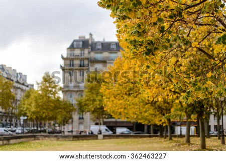 Autumn in Paris,building among yellow trees focus on trees - stock photo