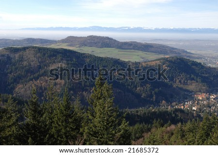 Autumn in the Black Forest with Vosges Mountains in the back, Germany - stock photo
