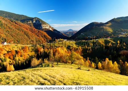 Autumn landscape in Romanian Carpathians - stock photo