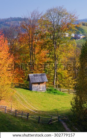 Autumn landscape. Mountain village. Wooden cottage in the meadow. Carpathians, Ukraine, Europe - stock photo