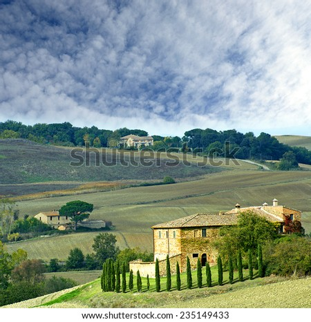 Autumn landscape of the Val d'Orcia. Tuscany, Italy, UNESCO World Heritage List - stock photo
