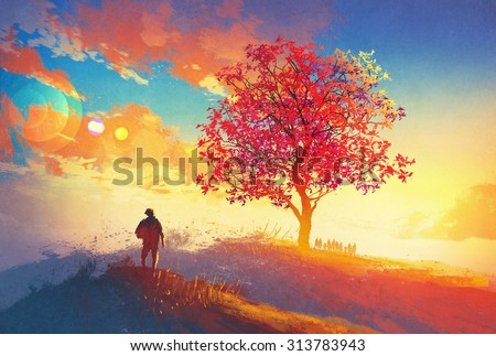autumn landscape with alone tree on mountain,coming home concept,illustration painting - stock photo