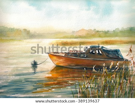 Autumn landscape with boat on the lake.Picture created with watercolors. - stock photo