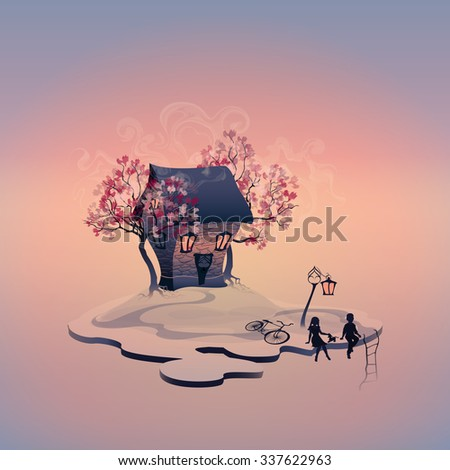 Autumn landscape with brick house on the island. Light in the windows. Abstract trees. Lantern near the road. Staircase to the abyss. Children with dog. Girl and boy. Rasterized version - stock photo