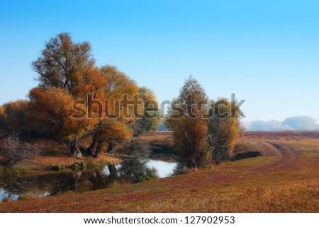 Autumn landscape with deep blue sky - stock photo