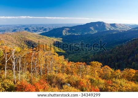 Autumn landscape with mountains in Shenandoah National park - stock photo
