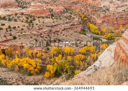 Autumn landscape with red rocks, trees and road 