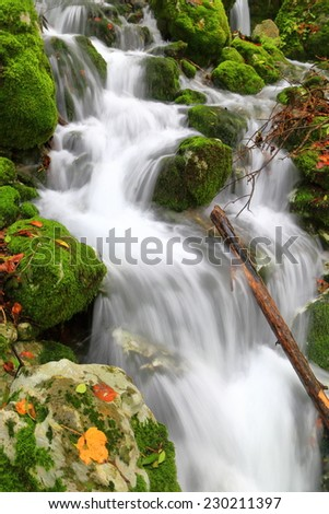 Autumn landscape with small creek flowing amongst rocks and moss - stock photo