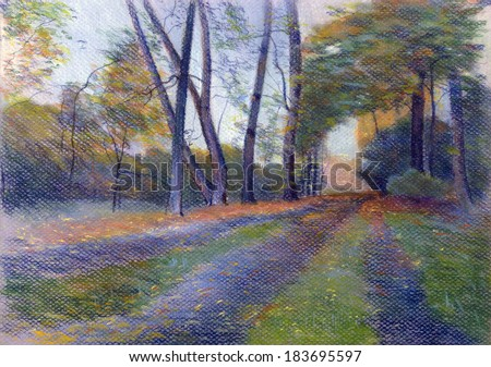 autumn landscape with trees and footpath - stock photo