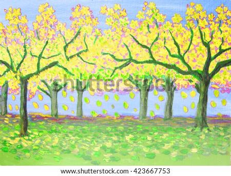 Autumn landscape, yellow garden, oil painting. - stock photo