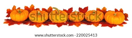 Autumn leaves and pumpkins forming a border over a white background - stock photo