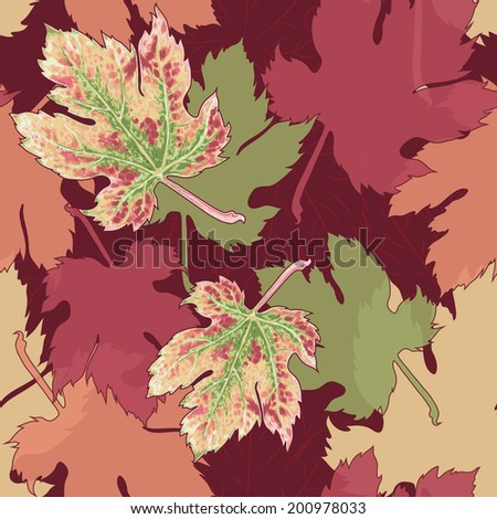 Autumn leaves. Seamless pattern. Raster version. - stock photo