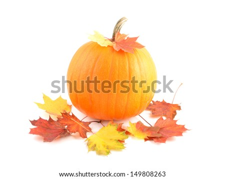 autumn leaves with pumpkin on white background, decoration  - stock photo