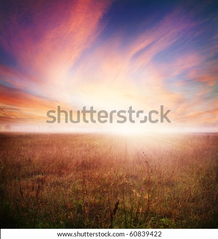 Autumn morning.Early Morning Landscape - stock photo