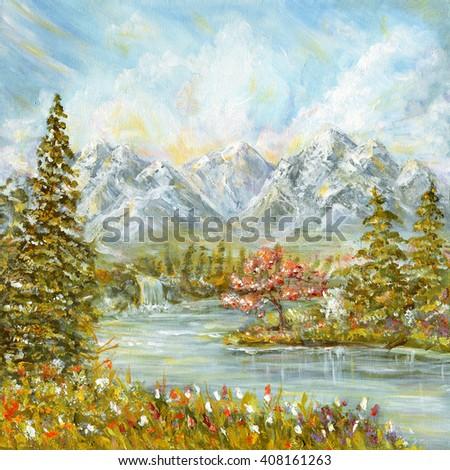 Autumn mountain landscape. Original acrylic hand painting illustration - stock photo