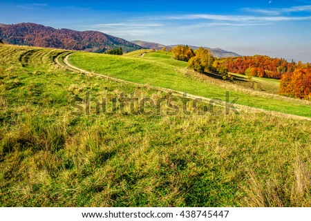 autumn  mountain landscape. yellow, red and orange trees near the path through the hill side meadow - stock photo