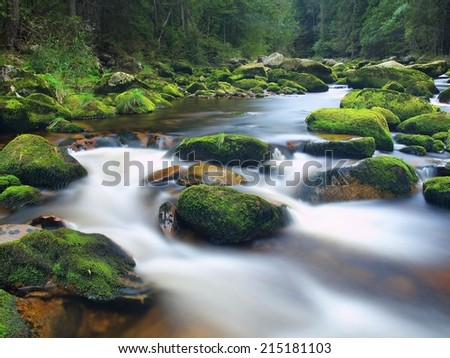 Autumn mountain river with blurred waves. Clear water makes white rapids between mossy boulders and bubbles create trails on level.  - stock photo