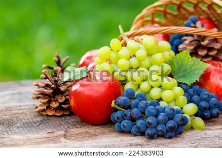 Autumn nature concept. Fall fruit and vegetables on wood. - stock photo