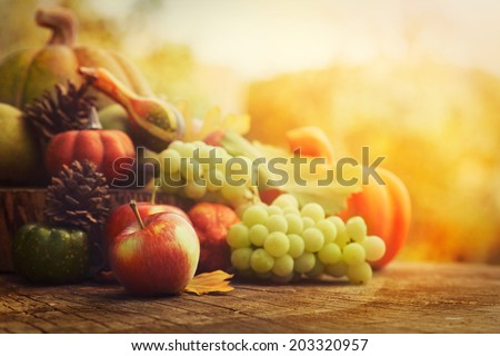 Autumn nature concept. Fall fruit and vegetables on wood. Thanksgiving dinner - stock photo