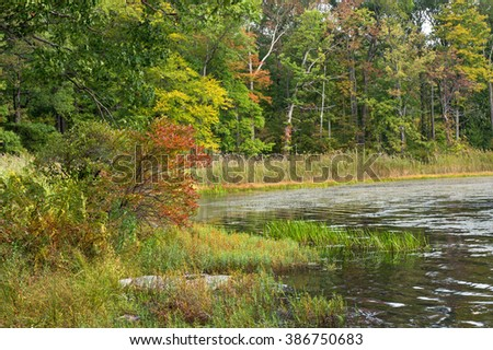 Autumn on Saw Mill Lake.  Destination High Point State Park in New Jersey - stock photo