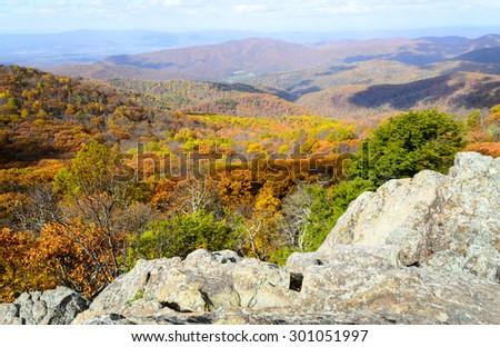 Autumn Overlook at Shenandoah National Park - stock photo