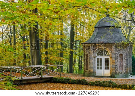 Autumn park in Bayreuth. Hermitage. - stock photo