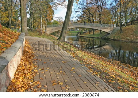 Autumn park in Latvia (Riga, Latvia, Europe) - stock photo