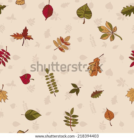 Autumn pattern. Pattern of autumn leaves. Red, yellow and green leaves of forest trees. Seamless texture. Use as a fill pattern, or background of the web page. - stock photo