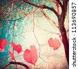 Autumn, pink leafs on vintage textured blue sky - stock photo
