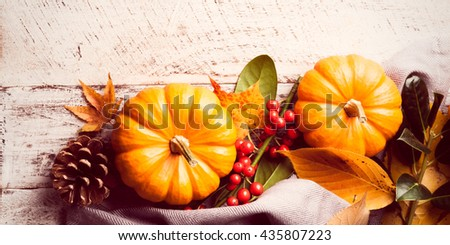 Autumn pumpkin background on white old wood. Retro style toned. - stock photo