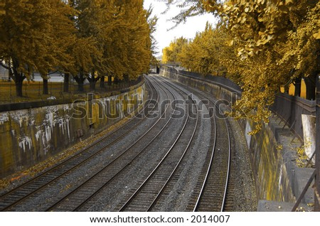 Autumn Railroad Scene (Horizontal) - stock photo