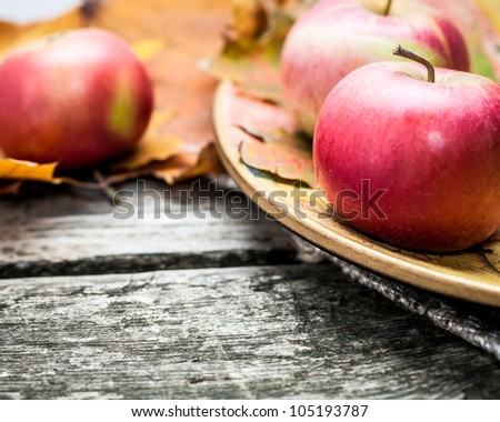 Autumn red apples and maple leaves on old wooden table. Thanksgiving day concept. Macro shot, very shallow depth of fields - stock photo