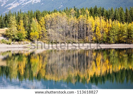 Autumn reflection in Wedge Pond - stock photo